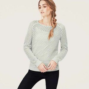Blue/Grey Scallop Ballet Neck Open Stitch Sweater